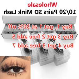 10/20 Pairs Mixed Wholesale False Eyelashes In Bulk 3D Mink