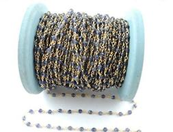 10 Feets Iolite Coated Rosary Style Beaded Chain - Beads Wir