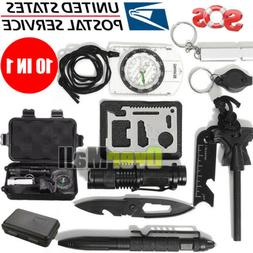 10 in 1 EDC Outdoor Camping Military Survival Gear Kits Box