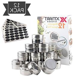 12 Magnetic Spice Tins for fridge and 113 Spices organizer L