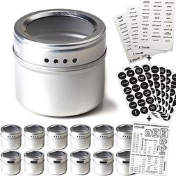 12 Magnetic Spice Tins Round Storage Spice Rack Refrigerator
