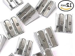 12 Metal Silver Pencil Sharpeners - Double Hole Steel Blade