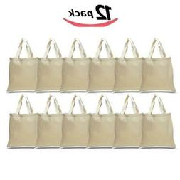 BagzDepot Canvas Tote Bags Wholesale - 12 Pack - Plain Cotto