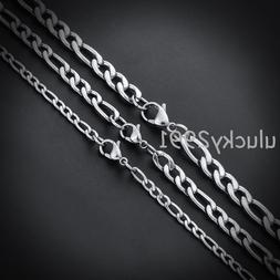 "16""-36"" Wholesale Lots Silver Stainless Steel Figaro Chain N"