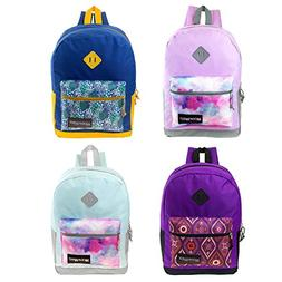 "17"" Wholesale Backpack in 4 assorted prints - Bulk Case of 2"