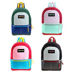 """17"""" Wholesale Backpacks in 4 Assorted Colors - Bulk Case of"""
