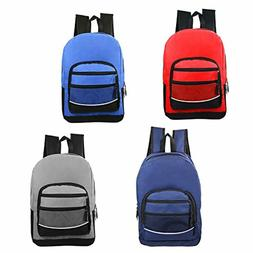 "17"" Wholesale Kids Sport Backpacks in 4 Assorted Colors Bulk"