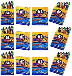 4E's Novelty 192 Crayons! 12 Packs of 16 Crayons for Kids Bu