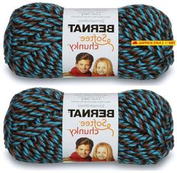 2-Pack - Bernat Softee Chunky Yarn, Teal Twists, Single Ball