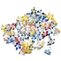 200Count assorted color Glass Daisy Pipe Screens in Plastic