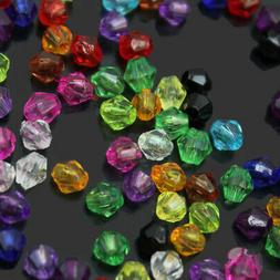 200Pcs 4mm Variety Of Colors Mixed Acrylic Bicone Bead Space