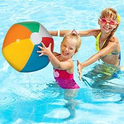 24 Pack Inflatable Beach Balls - Bright Rainbow Colored Pool