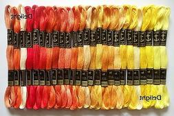 25 Anchor Cross Stitch Cotton Thread Floss/ skeins in Yellow