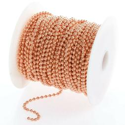 25 Feet 3.2mm #6 Solid COPPER BALL CHAIN BULK LOT ~  Made in
