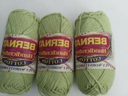 3 Skeins Bernat Handicrafter Cotton Yarn in #13131 Celedon G