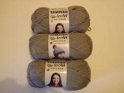 3 Skns Bernat Wool-up WORSTED Yarn in Medium Taupe Heather