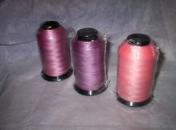 3 Spools BONDED POLYESTER UVR Heavy duty THREAD in CORAL ROS
