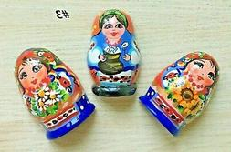 3 x Russian Doll Shaped Fridge Magnets real wood hand painte