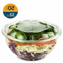 32 Ounce Clear Plastic Disposable Salad Containers with Lids