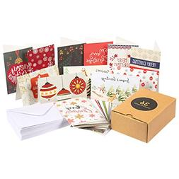 36-Pack Merry Christmas Holiday Greeting Cards Bulk Box Set