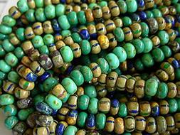 4/0 Czech Seed Beads- Blue/Green Striped Aged Picasso Mix  #