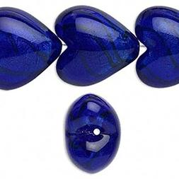 4 Cobalt Blue 3D Puffy Lampwork Glass Puff Heart Beads for J