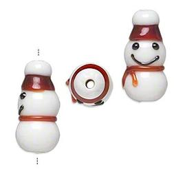 4 Lampwork Glass Snowman with RED Hat Beads for Jewelry Maki