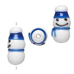 4 Lampwork Glass Snowman with Blue Hat Beads for Jewelry Mak
