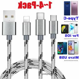 4-Pack Fast Charge Micro USB Cable Rapid Sync Cord Charger P