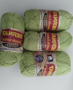 4 Skeins Bernat Handicrafter Cotton Yarn in #13131 Celedon G