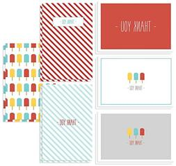 48 Thank You Cards - Popsicles and Stripes Designs for Baby
