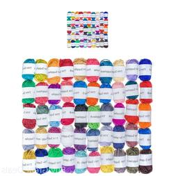 50 Acrylic Yarn Skeins Assorted Colors Huge Lot Mixed Croche