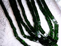 50 DEEP Green Square Glass Spacer Beads 6mm 062017e Beads fo