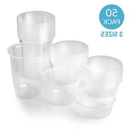 50 Deli Containers Bulk - Clear Food Storage Cups With Lids,