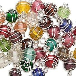 50 Silver Plated Spiral Wire Wrapped Glass Beads for Jewelry