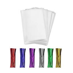 600 Clear Cello/Cellophane Treat Bags and Ties 4x6-1.4 mils