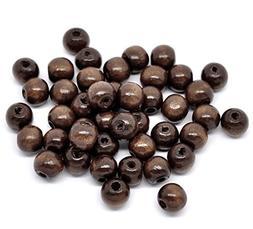 600 Dark Brown Coffee Colored Beads Bulk 10 x 9mm Round Wood