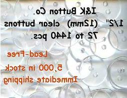 """72 to 1440 pcs. of Clear 2 hole BUTTONS 1/2"""" New Bridal Wedd"""