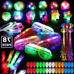 78PCs LED Light Up Toy Party Favors Glow In The Dark,Party S