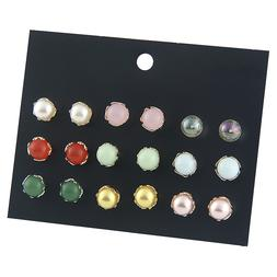 ZHIMLY 9 Pairs/pack Vintage Multi Color Bead Glass Ball Stud