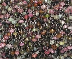 KIRANBEADS - 3 Feet Multi Tourmaline Beaded Chain - Oxidized