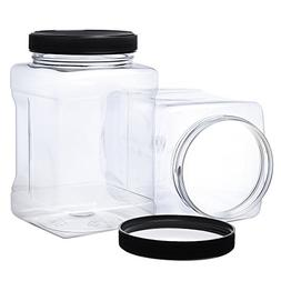 Pack of 4-32 Oz Large Clear Empty Plastic Storage Jars with