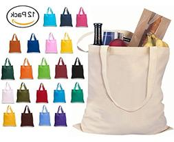 Set of 12 Wholesale Cotton Tote Bags 100% Cotton Reusable To