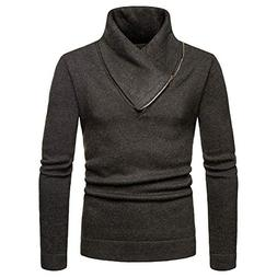 Sunhusing Men's Solid Color Casual Knitted Sweater Half-Hign