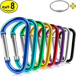 ZEINZE Aluminum D-Ring Spring Loaded Gate Small Keychain Car