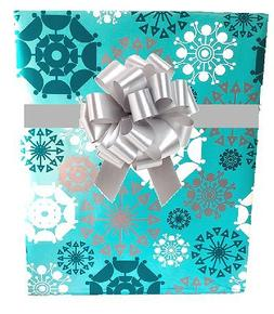 AQUA BLUE SHIMMER SNOWFLAKES Christmas Holiday Gift Wrap Pap