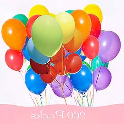 200 Pieces Assorted Colored Balloons Bulk ,8 Inches Latex He