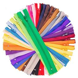 NEW 100pcs 9In Assorted Nylon Coil Zippers Lot Sewing Set Cr