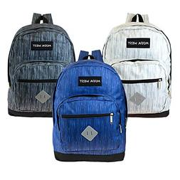 """17"""" Wholesale Backpack in 3 Assorted Space Dye Colors - Bulk"""