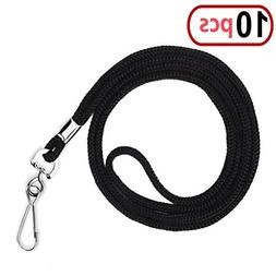 10pcs Black Cotton Lanyard Bulk Clip Swivel Hook 20.5-inch N